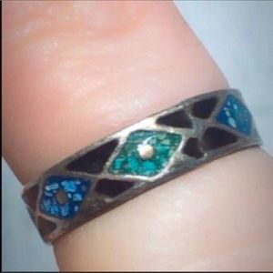 Mexican 5.5 Sterling Silver Turquoise Band